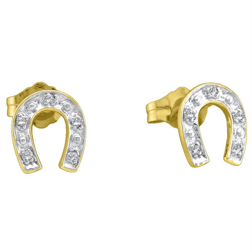 10kt Yellow Two-tone Gold Womens Round Diamond Horseshoe Stud Earrings 1/20 Cttw