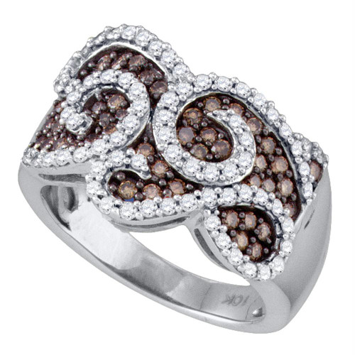 10kt White Gold Womens Round Cognac-brown Color Enhanced Diamond Swirled Cocktail Ring 1.00 Cttw