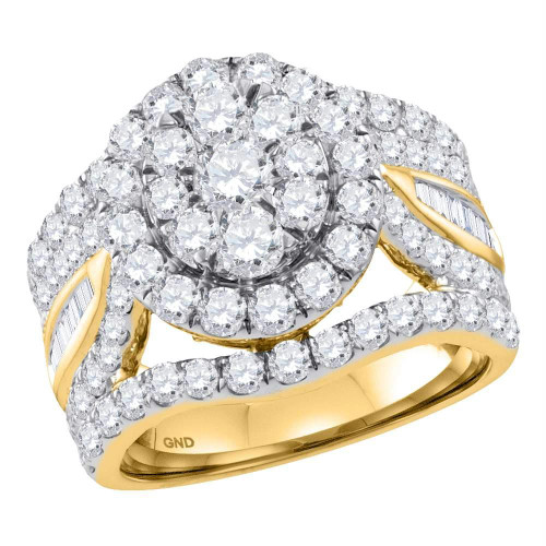 14kt Yellow Gold Womens Round Diamond Flower Cluster Bridal Wedding Engagement Ring 3-1/2 Cttw