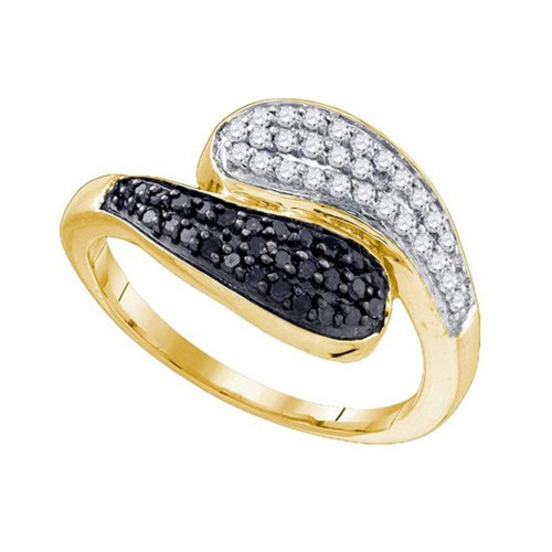 10kt Yellow Gold Womens Round Black Color Enhanced Diamond Bypass Band Ring 1/2 Cttw