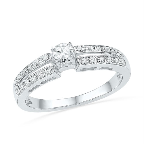 10kt White Gold Womens Round Diamond Solitaire Bridal Wedding Engagement Ring 1/4 Cttw - 100674