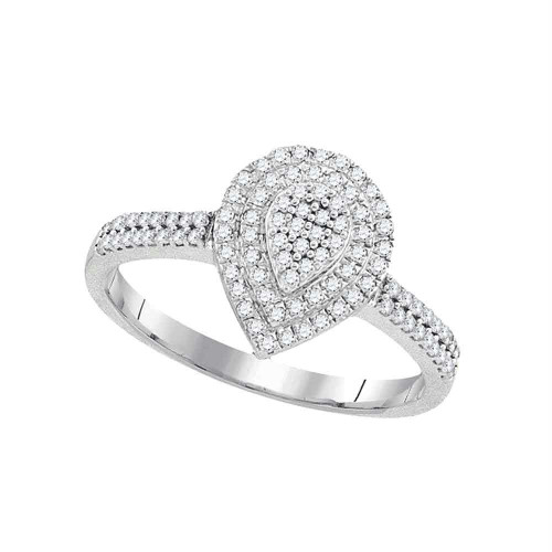 10kt White Gold Womens Round Diamond Concentric Teardrop Cluster Ring 1/3 Cttw