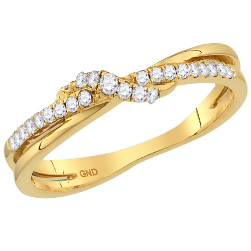10kt Yellow Gold Womens Round Diamond Crossover Stackable Band Ring 1/6 Cttw