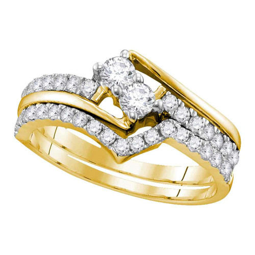 10kt Yellow Gold Womens Round 2-Stone Diamond Hearts Together Bridal Wedding Engagement Ring Band Set 3/4 Cttw (Certified)