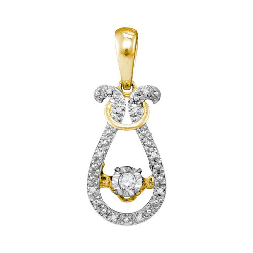 10kt Yellow Gold Womens Round Diamond Bound Teardrop Moving Twinkle Solitaire Pendant 1/20 Cttw
