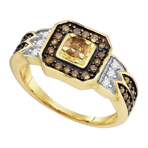 10K Yellow Gold Enhance Cognac Brown Diamond Bridal Wedding Engagement Ring 5/8CT