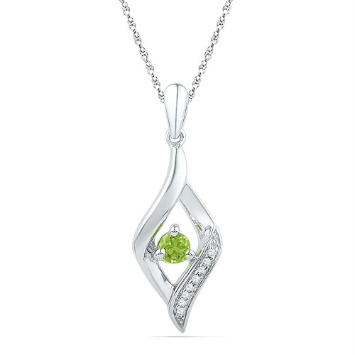 10k White Gold Womens Lab-Created Peridot & Diamond Pendant 1/5 Cttw