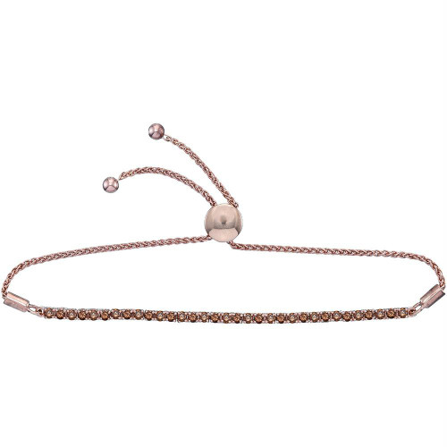 10kt Rose Gold Womens Round Natural Brown Diamond Bolo Bracelet 2.00 Cttw