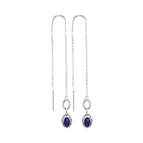 Sterling Silver Womens Oval Lab-Created Blue Sapphire Threader Earrings 1-1/10 Cttw