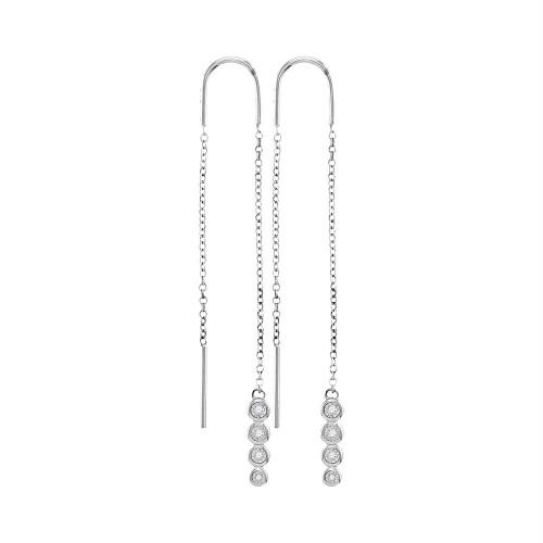 10kt White Gold Womens Round Bezel-set Diamond Dangle Threader Earrings 1/12 Cttw