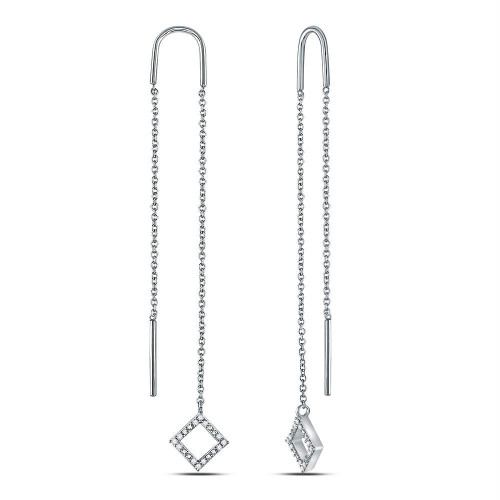 10kt White Gold Womens Round Diamond Threader Square Dangle Earrings 1/10 Cttw