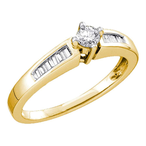 10kt Yellow Gold Womens Round Diamond Solitaire Bridal Wedding Engagement Ring 1/4 Cttw - 45237-10