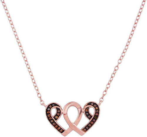 10kt Rose Gold Womens Round Red Color Enhanced Diamond Heart Awareness Ribbon Pendant Necklace 1/10 Cttw
