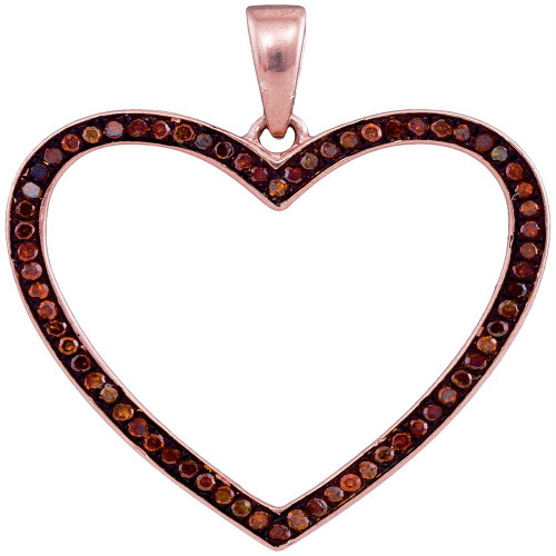10kt Rose Gold Womens Round Red Color Enhanced Diamond Heart Love Pendant 1/5 Cttw - 93429