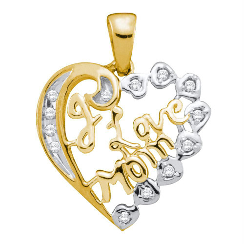 10kt Yellow Gold Womens Round Diamond I Love Mom Mother Heart Pendant 1/8 Cttw