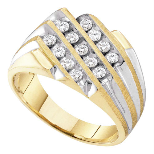 10kt Two-tone Yellow Gold Mens Round Diamond 3-Row Cluster Ring 1/2 Cttw