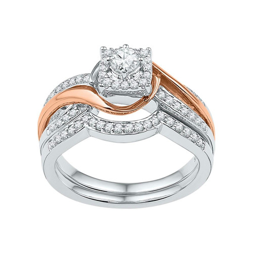 10k Two-tone White Gold Womens Round Diamond Bridal Wedding Engagement Ring Band Set 1/2 Cttw