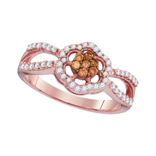10kt Rose Gold Womens Round Cognac-brown Color Enhanced Diamond Cluster Ring 1/3 Cttw