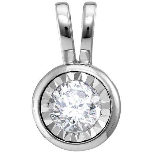 14kt White Gold Womens Round Diamond Solitaire Pendant 1/2 Cttw