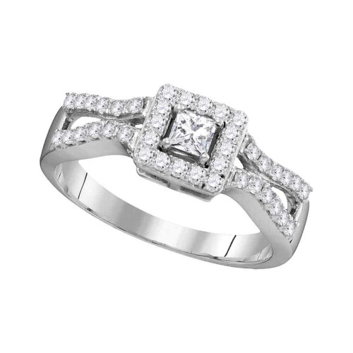 10k White Gold Womens Princess Diamond Bridal Wedding Engagement Ring 1/2 Cttw