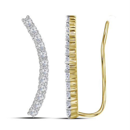 10kt Yellow Gold Womens Round Diamond Climber Earrings 3/4 Cttw - 114758