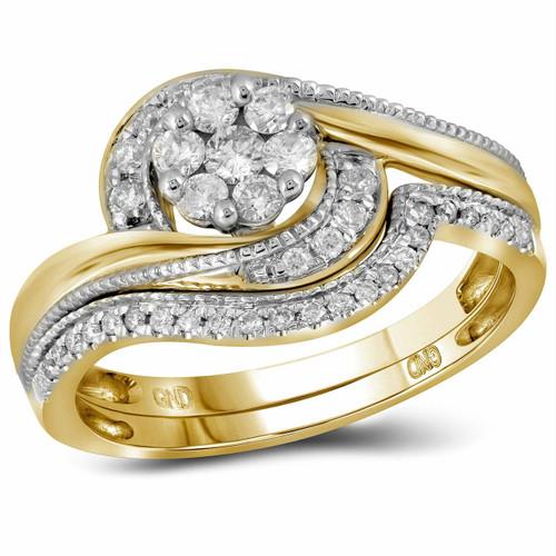 14kt Yellow Gold Womens Round Diamond Flower Cluster Milgrain Bridal Wedding Engagement Ring Band Set 3/8 Cttw