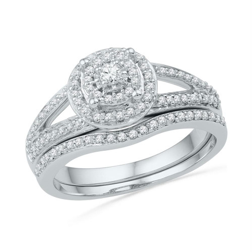 10k White Gold Womens Round Diamond Halo Bridal Wedding Engagement Ring Band Set 1/2 Cttw