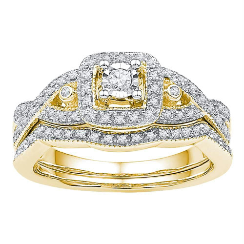 10kt Yellow Gold Womens Round Diamond Twist Bridal Wedding Engagement Ring Band Set 1/4 Cttw