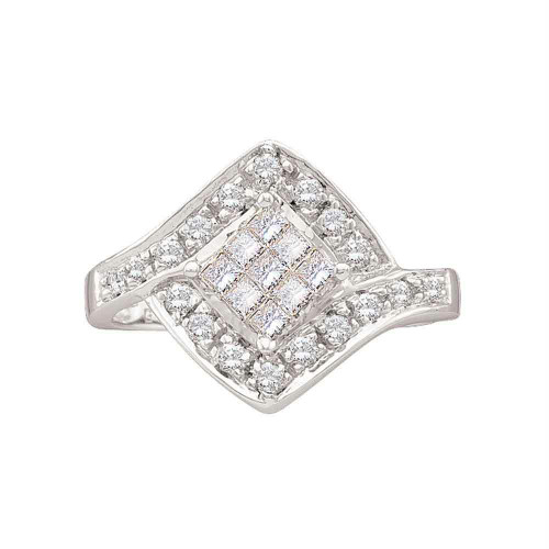 14kt White Gold Womens Princess Diamond Square Cluster Ring 1/2 Cttw
