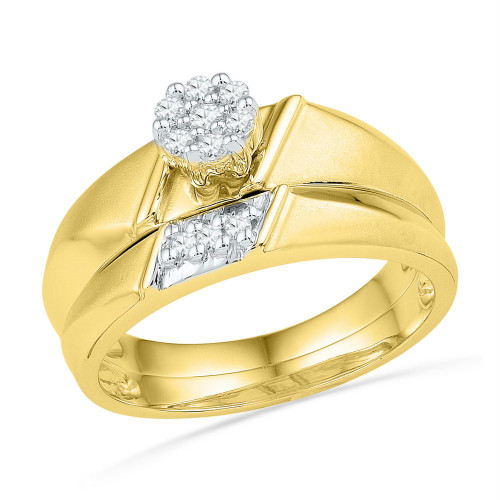 10kt Yellow Gold Womens Round Diamond Cluster Bridal Wedding Engagement Ring Band Set 1/8 Cttw