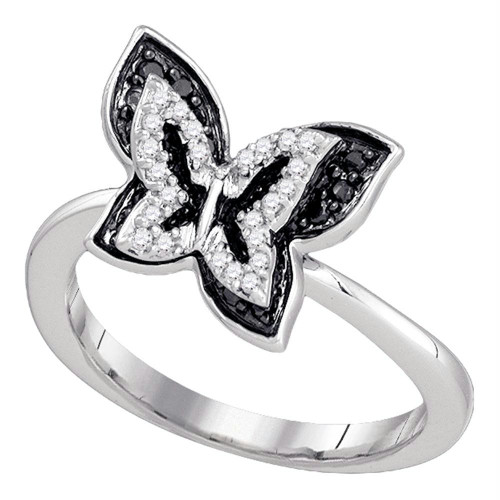 10k White Gold Black Color Enhanced Round Pave-set Diamond Womens Butterfly Bug Band Ring 1/3 Cttw