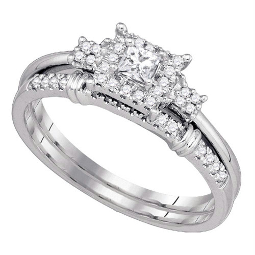 10k White Gold Womens Princess Diamond Halo Bridal Wedding Engagement Ring Set 1/3 Cttw