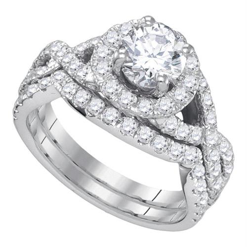 14kt White Gold Womens Round Diamond Halo Bridal Wedding Engagement Ring Band Set 2-1/5 Cttw