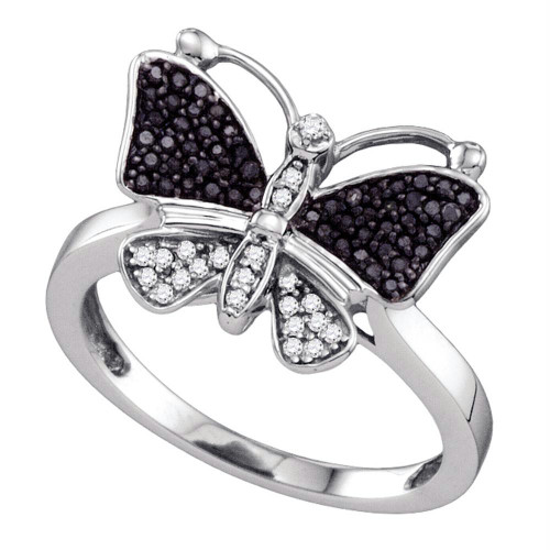 10kt White Gold Womens Round Black Color Enhanced Diamond Butterfly Bug Ring 1/4 Cttw