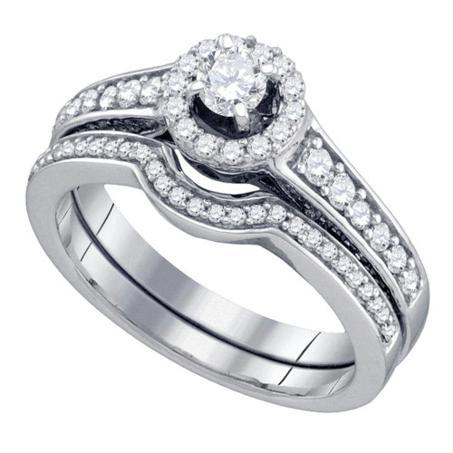 14kt White Gold Womens Round Diamond Halo Bridal Wedding Engagement Ring Band Set 3/4 Cttw