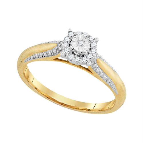10kt Yellow Gold Womens Round Diamond Solitaire Bridal Wedding Engagement Ring 1/10 Cttw - 94067-10