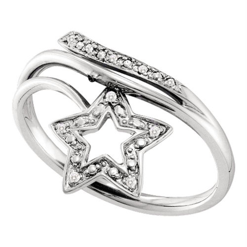 10kt White Gold Womens Round Diamond Star Bypass Band Ring .03 Cttw