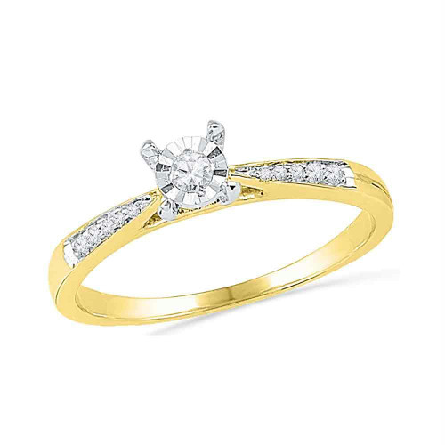 10kt Yellow Gold Womens Round Diamond Solitaire Bridal Wedding Engagement Ring 1/10 Cttw - 100246-10