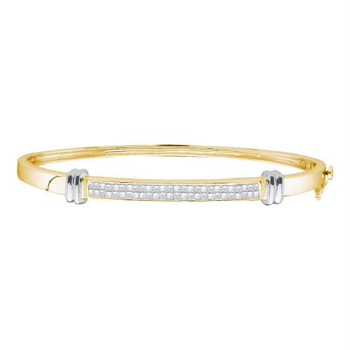 14kt Two-tone Yellow Gold Womens Princess Diamond Bangle Bracelet 1.00 Cttw