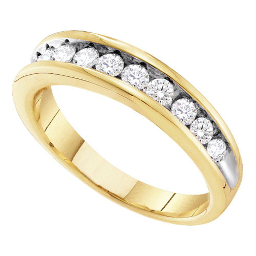 10K Yellow Gold Womens Round Channel-Set Diamond 2-Tone Wedding Anniversary Band 1/2 Cttw