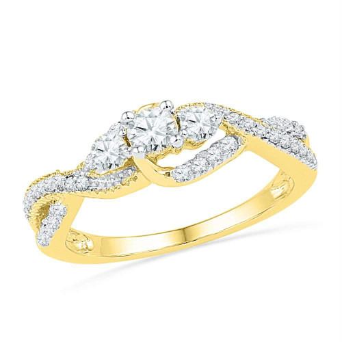 10k Yellow Gold Womens Round Diamond 3-stone Bridal Wedding Engagement Ring 5/8 Cttw