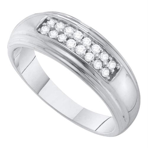 10k White Gold Round Diamond 2-row Mens Wedding Band Ring 1/4 Cttw