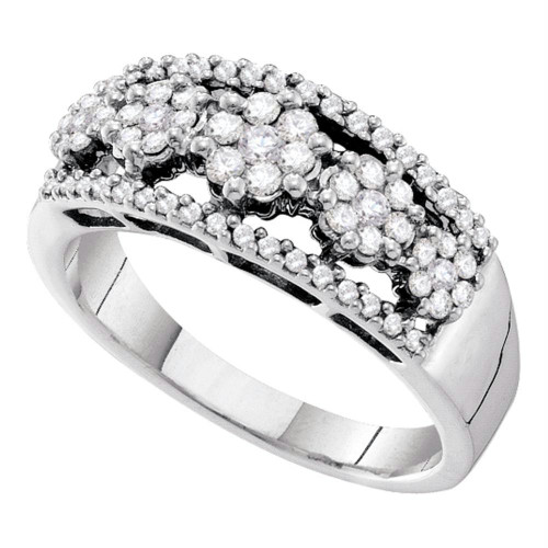14kt White Gold Womens Round Diamond Flower Cluster Cocktail Band Ring 1/2 Cttw