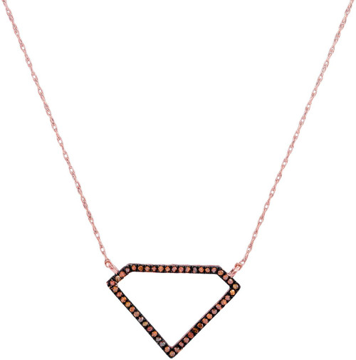 10kt Rose Gold Womens Round Red Color Enhanced Diamond Gem Shape Fashion Necklace 1/8 Cttw