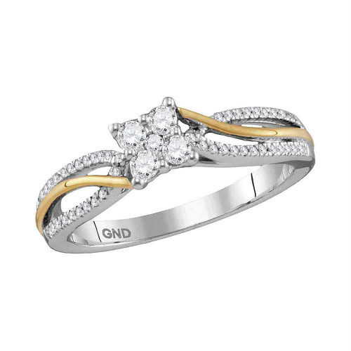 10kt Two-tone Gold Womens Round Diamond Cluster Promise Bridal Ring 1/4 Cttw