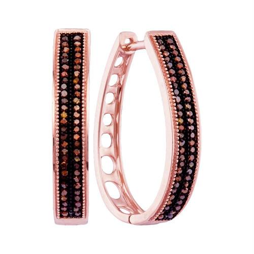 10kt Rose Gold Womens Round Diamond Double Row Oblong Hoop Earrings 1/3 Cttw