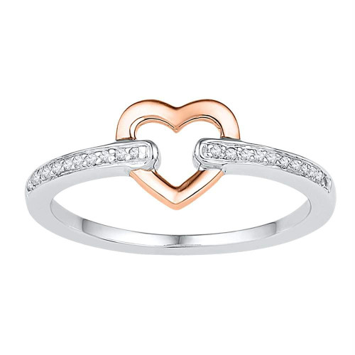 10kt White Gold Womens Round Diamond Rose-tone Bound Heart Ring 1/12 Cttw