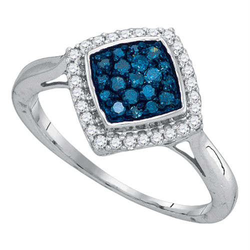 10k White Gold Blue Color Enhanced Round Diamond Womens Diagonal Square Cluster Ring 1/3 Cttw