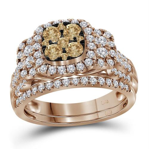 14kt Rose Gold Womens Round Brown Diamond Cluster Bridal Wedding Engagement Ring Band Set 1.00 Cttw