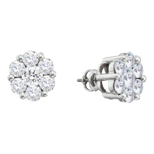 10k White Gold Round Diamond Flower Cluster Womens Screwback Stud Earrings 1/2 Cttw